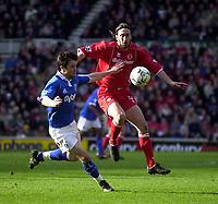 Photo. Glyn Thomas.<br /> Middlesbrough v Birmingham City.<br /> FA Barclaycard Premiership.<br /> Riverside Stadium, Middlesbrough. 20/03/2004.<br /> Boro's Jonathan Greening (R) shields the ball from Birmingham's Matthew Upson.