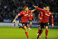 Cardiff city's Craig Bellamy (l) celebrates with Andrew Taylor after he scores the opening goal. NPower championship, Leicester city v Cardiff city at the King Power stadium in Leicester on Saturday 22nd Dec 2012. pic by Andrew Orchard, Andrew Orchard sports photography,