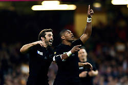 Waisake Naholo of New Zealand celebrates the opening try of the match - Mandatory byline: Patrick Khachfe/JMP - 07966 386802 - 02/10/2015 - RUGBY UNION - Millennium Stadium - Cardiff, Wales - New Zealand v Georgia - Rugby World Cup 2015 Pool C.