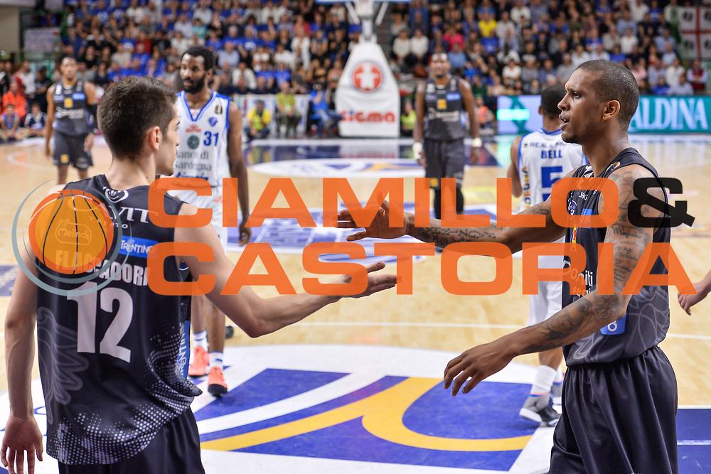 Diego Flaccadori, Joao Gomes<br /> Banco di Sardegna Dinamo Sassari - Dolomiti Energia Aquila Basket Trento<br /> Legabasket Serie A LBA Poste Mobile 2016/2017<br /> Playoff Quarti Gara3<br /> Sassari 16/05/2017<br /> Foto Ciamillo-Castoria