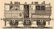 British Post Office railway van showing the net for collecting mailbags whilst the train was moving. Engraving from 'Discoveries and Inventions of the Nineteenth Century' by Robert Routledge (London, 1876).