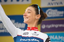 Ashleigh Moolmann-Pasio (RSA) of Cervélo-Bigla Cycling Team celebrates finishing in second place overall after the Aviva Women's Tour 2016 - Stage 5. A 113.2 km road race from Northampton to Kettering, UK on June 19th 2016.