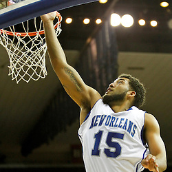 November 27, 2011; New Orleans, LA; New Orleans Privateers guard Lenny Harmon (15) shoots against the Alcorn State Braves during the first half of a game at the Lakefront Arena.  Mandatory Credit: Derick E. Hingle-US PRESSWIRE