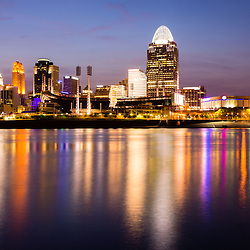 Cincinnati night skyline riverfront with downtown city office buildings. Photo was taken in July 2012.