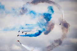 © Licensed to London News Pictures. 24/06/2017. Scarborough UK. The Red Arrows putting on a display in Scarborough today to celebrate Armed Forces Day. Photo credit: Andrew McCaren/LNP