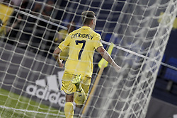 September 14, 2017 - Villarreal, Spain - 07 Denis Cheryshev of Villarreal CF celebrate after scoring the 3-1 goal     during the UEFA Europa League Group A football match between Villarreal CF vs FC Astana  at La Ceramica stadium in Villarreal  on September 14, 2017. (Credit Image: © Jose Miguel Fernandez/NurPhoto via ZUMA Press)