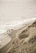 Waves break along the shoreline on the coast north of San Francisco, California