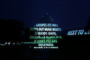 Jenny Holzer Projections for FRIDA KAHLO: Art, Garden, Life at The New York Botanical Garden in New York City on June 13, 2015 (Photo by Ben Hider)