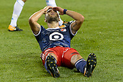 CHICAGO, IL - AUGUST 02: MLS All-Star and Chicago Fire Forward Nemanja Nikolic (22) reacts after missing a shot on goal in the second half during a soccer match between the MLS All-Stars and Real Madrid on August 02, 2017, at Soldier Field in Chicago, IL. The game ended in a 1-1 tie with Real Madrid winning on penalty kicks 4-2. (Photo By Daniel Bartel/Icon Sportswire)