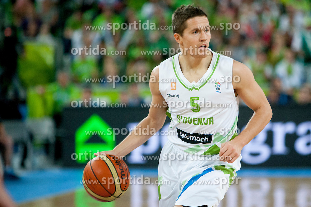 Jaka Lakovic of Sloveniaa during basketball match between National teams of Slovenia and Ukraine in ranking of 5th to 8th place at Day 18 of Eurobasket 2013 on September 21, 2013 in SRC Stozice, Ljubljana, Slovenia. (Photo By Urban Urbanc / Sportida)