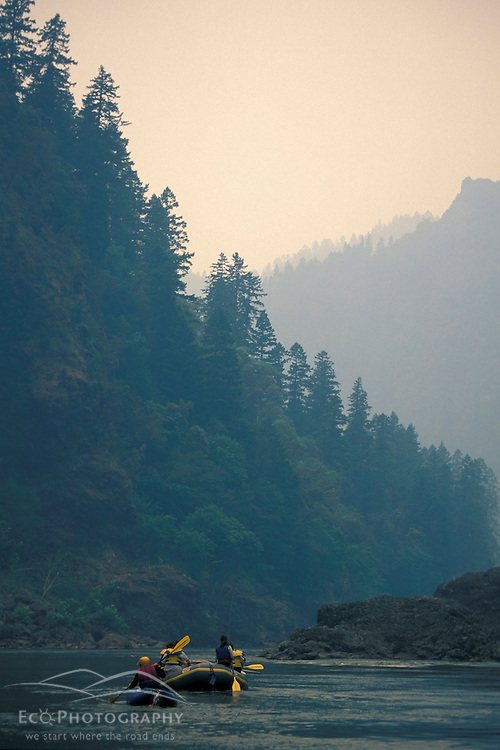 Wild Rogue Wilderness, OR.Mule Creek Canyon.  Forest Fire Smoke. Whitewater Paddling. Rogue River.  Siskiyou National Forest.   June.