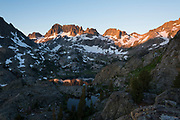 Sunrisey over Ediza Lake and the Minarets  in the Ansel Adams Wilderness. High Sierra backpacking trip to Garnet Lake and Nydiver Lake in the Ansel Adams Wilderness out of Devil's Postpile national monument 2017.