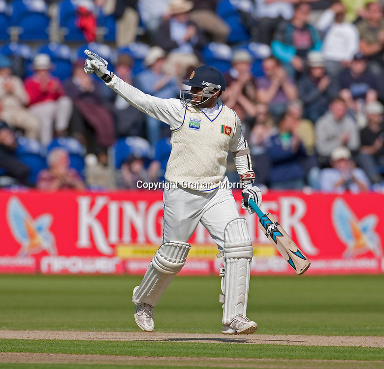 Prasanna Jayawardene celebrates his century during the first npower Test Match between England and Sri Lanka at the SWALEC Stadium, Cardiff.  Photo: Graham Morris (Tel: +44(0)20 8969 4192 Email: sales@cricketpix.com) 27/05/11