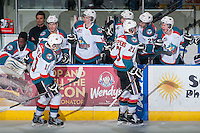 KELOWNA, CANADA - FEBRUARY 18: Nick Merkley #10 and Devante Stephens #21 of Kelowna Rockets celebrate a goal against the Kamloops Blazers on February 18, 2015 at Prospera Place in Kelowna, British Columbia, Canada.  (Photo by Marissa Baecker/Shoot the Breeze)  *** Local Caption *** Nick Merkley; Devante Stephens;