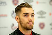 Benjamin Garuccio (#17) of Heart of Midlothian speaks to the media during the press conference ahead of the visit of Rangers in the Scottish Premiership on 1st December 2018, at Oriam Sports Performance Centre, Riccarton, Scotland on 30 November 2018.