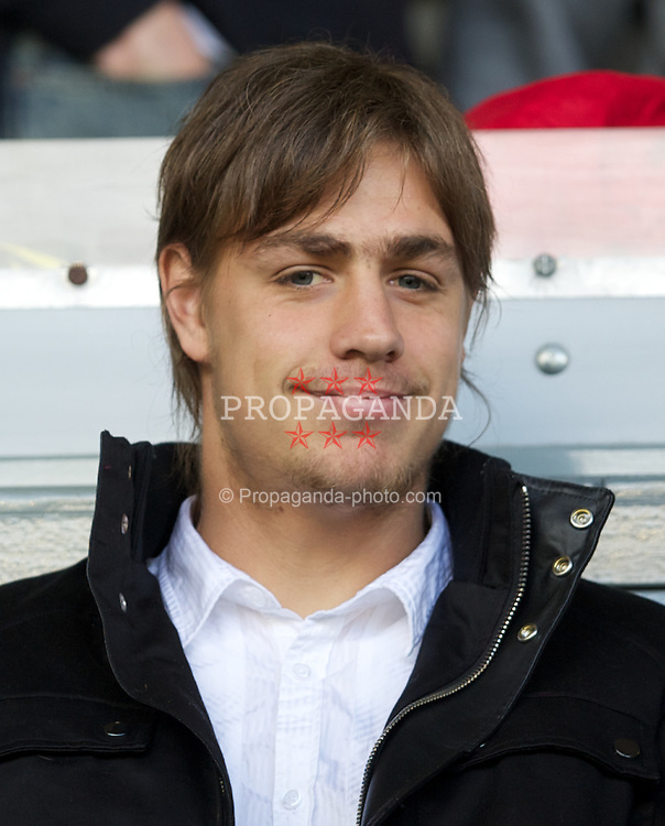 LIVERPOOL, ENGLAND - Saturday, August 27, 2011: Liverpool's new signing Uruguay star Sebastian Coates watches his new side destroy Bolton Wanderers 3-1 during the Premiership match at Anfield. (Pic by David Rawcliffe/Propaganda)