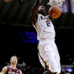 Jan 23, 2013; Baton Rouge, LA, USA; LSU Tigers forward Johnny O'Bryant III (2) dunks against the Texas A&M Aggies during the second half of a game at the Pete Maravich Assembly Center. LSU defeated Texas A&M 58-54. Mandatory Credit: Derick E. Hingle-USA TODAY Sports