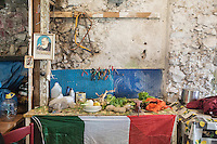 CETARA, ITALY - 10 March 2014: Local vegetables are here on a table with an Itailan fin the farmhouse of Antonio Polverino, a 64 years old peasant living and working  in Cetara, a village of fishermans in the Amalfi Coast, Italy, on March 10th 2014.<br /> Antonio Polverino was interviewed by Daniele De Michele, aka Donpasta, a DJ-economist with a passion for gastronomy.