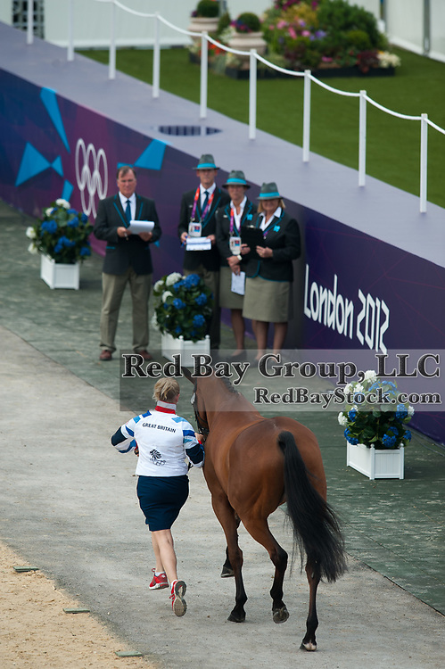 Zara Phillips (GBR) presents High Kingdom for inspection prior to the start of the Eventing competition at the London 2012 Olympic Games - Greenwich Park, London, United Kingdom -  27 July 2012