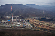 The Trepca Factories is distributed between southern and northern Mitrovica and Zvecan (pictured). Some 33 million tones of mine tailings is stored under open sky, polluting the air in Mitrovica. This part of the Trepca complex was closed by international KFOR forces in 2000.