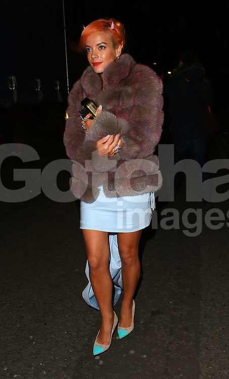 Lily Allen atttends the British Fashion Awards After Party at Cafe Royal in London, UK. 01/12/2014<br /> BYLINE MUST READ : JAMESY/GOTCHA IMAGES<br /> <br /> Copyright by &copy; Gotcha Images Ltd. All rights reserved.<br /> Usage of this image is conditional upon the acceptance <br /> of Gotcha Images Ltd, terms and conditions available at<br /> www.gotchaimages.com