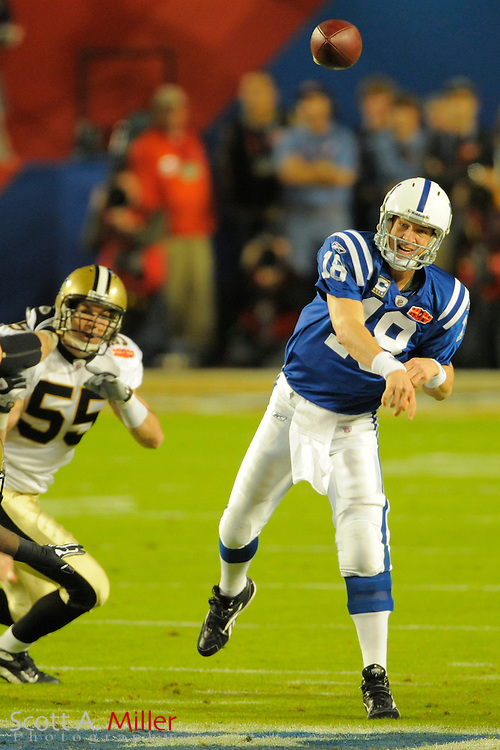 Miami, FL, USA; Indianapolis Colts quarterback Peyton Manning #18 in action during Super Bowl XLIV. The New Orleans Saints 31-17 beat the Indianapolis Colts in Super Bowl XLIV at Sun Life Stadium on Feb 7, 2010...©2010 Scott A. Miller