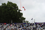 The Red Devil parachute display team drop in to Lords ahead of the ICC Cricket World Cup 2019 Final match between New Zealand and England at Lord's Cricket Ground, St John's Wood, United Kingdom on 14 July 2019.