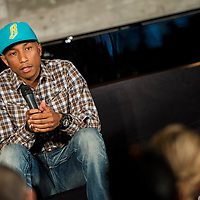 HONG KONG - APRIL 27:  Pharrell Williams during the Liberatum Hong Kong International Festival of Culture press conference at the Lane Crawford Joyce Group headquarters on April 27, 2012 in Hong Kong, Hong Kong.  Photo by Victor Fraile / studioEAST