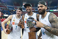June 19, 2018 - Vitoria, Spain - Real Madrid Luka Doncic, Trey Thompkins and Jeffery Taylor celebrating the championship during Liga Endesa Finals match (4th game) between Kirolbet Baskonia and Real Madrid at Fernando Buesa Arena in Vitoria, Spain. June 19, 2018. (Credit Image: © Coolmedia/NurPhoto via ZUMA Press)