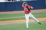 Ole Miss' Austin Anderson (8) throws to first for the out vs. Lipscomb at Oxford-University Stadium in Oxford, Miss. on Sunday, March 13, 2011. Ole Miss won 5-1 to sweep the series and improve to 13-4.