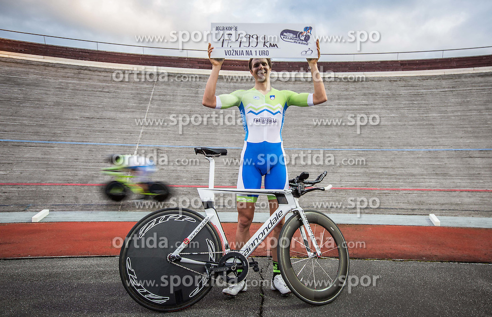 Igor Kopse of Slovenia celebrates after the new Slovenian One Hour Cycling Record 47,499 km at Cesca vas Velodrome on June 1, 2016 in Novo mesto, Slovenia. Photo by Vid Ponikvar / Sportida