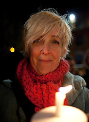 "© under license to London News Pictures. 1/12/2010. Coronation Street star, Julie Hsemondhalgh (Hayley Cropper) at the Manchester HIV Candlelit Vigil. Julie read from the Poet Laureate, Carol Ann Duffy's poem, ""Vigil""."