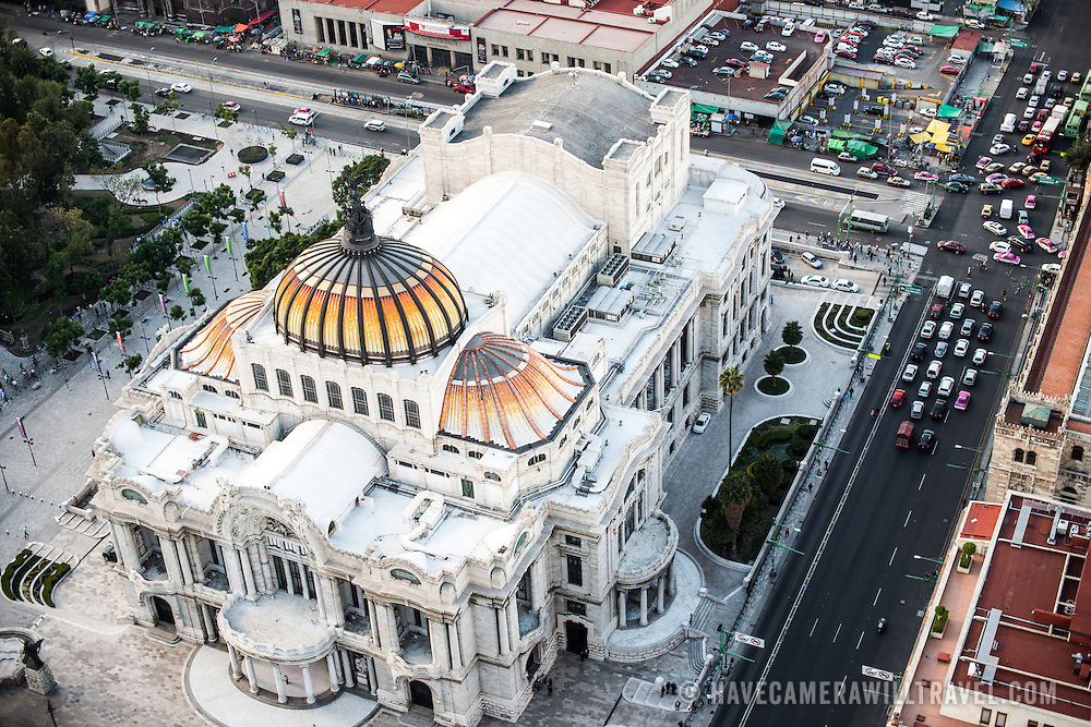 View of the Palacio de Bellas Artes in Mexico City from the 44th floor of the Torre Latinoamericana building.