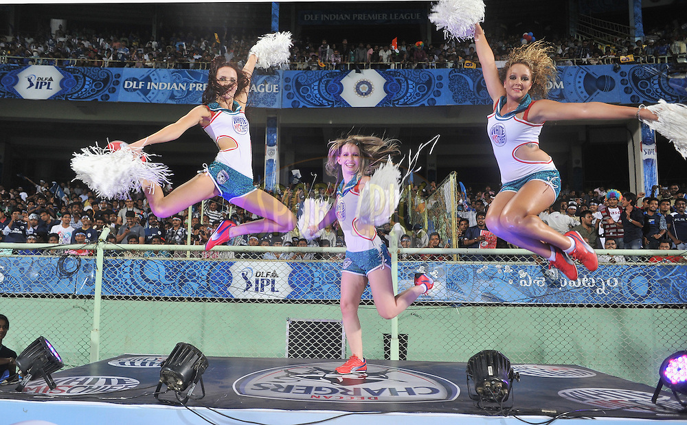 Cheerleaders perform during match 6 of the Indian Premier League ( IPL) 2012  between The Deccan Chargers and the Mumbai Indians held at the ACA-VDCA Stadium, Visakhapatnam on the 9th April 2012..Photo by Pal Pillai/IPL/SPORTZPICS