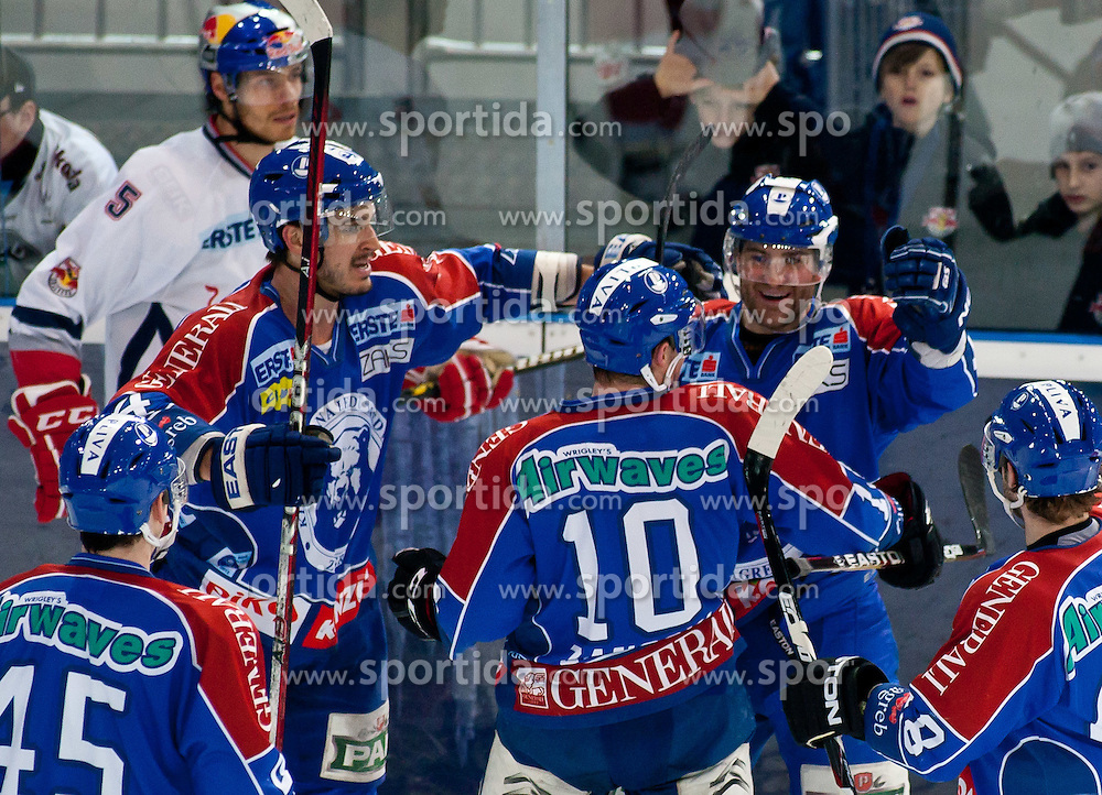"""31.02.2012, VOLKSGARTEN EISARENA, SALZBURG, AUT, EC RED BULL SALZBURG vs KHL MEDVESCAK ZAGREB, IM BILD Torjubel bei Zagreb nach dem 3 zu 3 Ausgleich durch Matt Siddall, (KHL Medvescak Zagreb, #39) // Celebration of Zagreb to the 3 to 3 equalizing goal by Matt Siddall, (Medvescak Zagreb, # 39) DURING THE """"ERSTE BANK ICEHOCKEY LEAGUE"""" GAME BETWEEN EC RED BULL SALZBURG AND KHL MEDVESCAK ZAGREB AT THE VOLKSGARTEN ICEARENA, SALZBURG, AUSTRIA, 2012/01/31. EXPA Pictures © 2012, PhotoCredit: EXPA/ Juergen Feichter"""