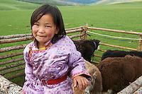 Mongolie, Province de Ovorkhangai, Vallee de l'Orkhon, campement nomade // Mongolia, Ovorkhangai province, Okhon valley, Nomad camp