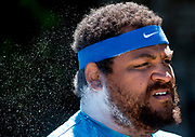 Olympic bronze medalist Reese Hoffa, competing with Nike, prepares for the men's shot put at the 2016 Spec Towns Invitational at the Spec Towns Track on the University of Georgia campus in Athens, Georgia, on Saturday, April 9, 2016. Hoffa went on to place 1st out of 10.