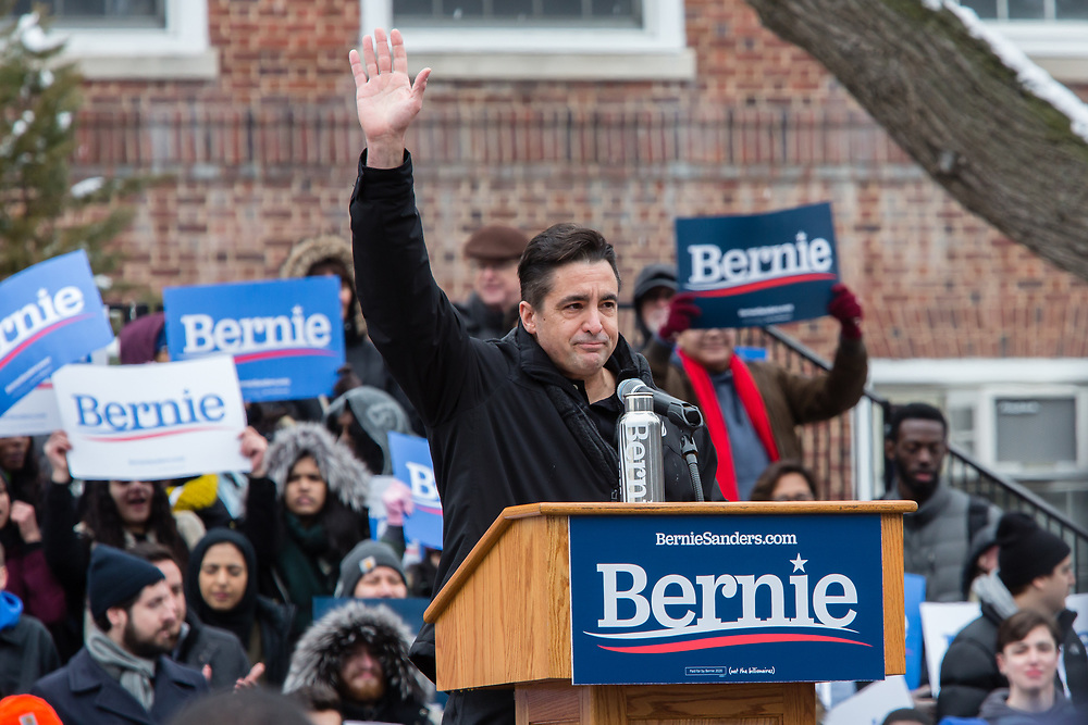 Brooklyn, NY - 2 March 2019. Scott Slawson, president of Local 506 of the United Electrical Workers of Erie, Pennsylvania speaking at Bernie Sanders' first rally for the 2020 presidential primary at Brooklyn College. Slawson was there to emphasize Sanders' support for trade unions and a living wage.
