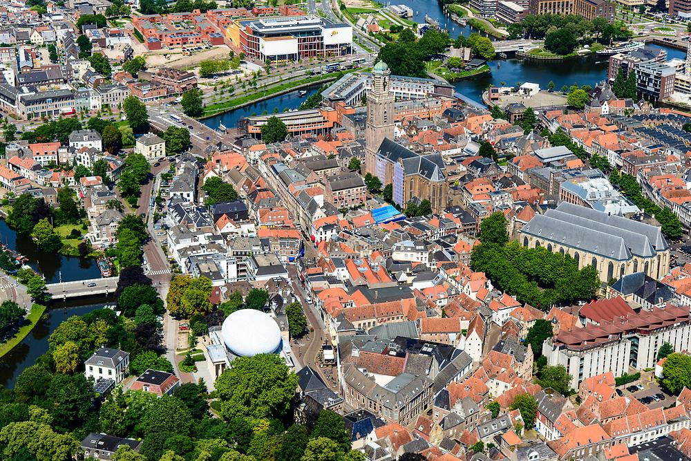 Nederland, Overijssel, Zwolle, 17-07-2017; overzicht binnenstad Zwolle, met onder andere De Peperbus (Onze-Lieve-Vrouwetoren), Grote Kerk, Museum de Fundatie (met witte koepel).<br /> Zwolle is de hoofdstad van de Nederlandse provincie Overijssel en tevens Hanzestad.<br /> Zwolle is the capital of the Dutch province of Overijssel and also a Hanseatic town.<br /> aerial photo (additional fee required);<br /> copyright foto/photo Siebe Swart