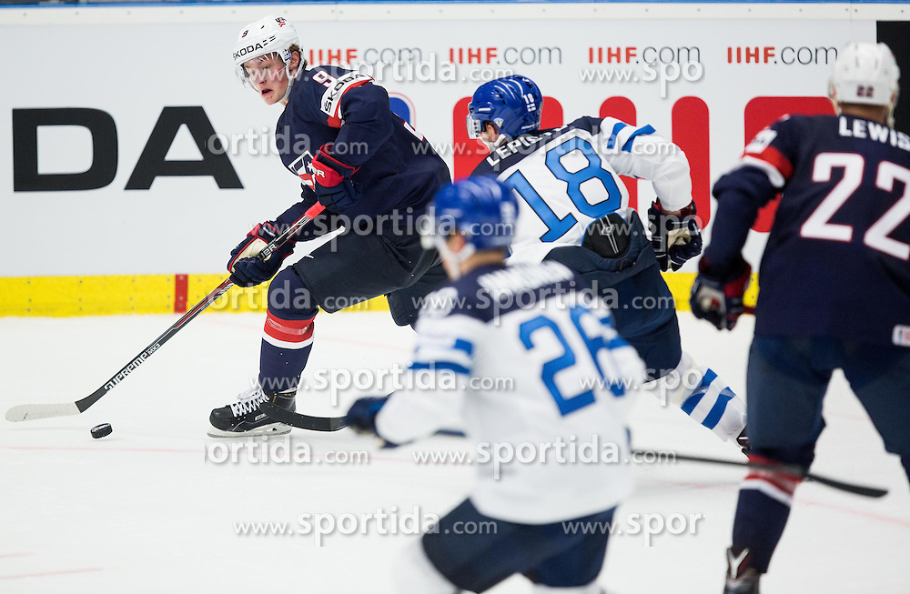 Jack Eichel of USA vs Sami Lepisto of Finland during Ice Hockey match between USA and Finland at Day 1 in Group B of 2015 IIHF World Championship, on May 1, 2015 in CEZ Arena, Ostrava, Czech Republic. Photo by Vid Ponikvar / Sportida