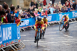 Lourdes Oyarbide (ESP) leads the Spanish team at UCI Road World Championships 2019 Mixed Relay a 27.6 km team time trial in Harrogate, United Kingdom on September 22, 2019. Photo by Sean Robinson/velofocus.com