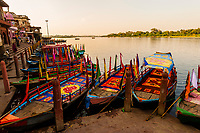 Ferry boats, Vishram Ghat, Mathura, Uttar Pradesh, India.
