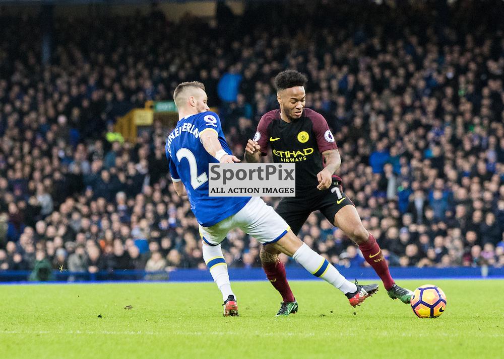 Morgan Schneiderlin of Everton with Raheem Sterling of Manchester City .Everton v Manchester City, Barclays English Premier League, 15th January 2017. (c) Paul Cram | SportPix