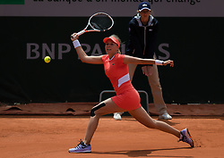 May 28, 2019 - Paris, FRANCE - Anett Kontaveit of Estonia in action during her first-round match at the 2019 Roland Garros Grand Slam tennis tournament (Credit Image: © AFP7 via ZUMA Wire)