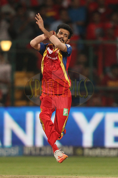 Yuzvendra Chahal of the Royal Challengers Bangalore sends down a delivery during match 40 of the Pepsi IPL 2015 (Indian Premier League) between The Royal Challengers Bangalore and The Kings XI Punjab held at the M. Chinnaswamy Stadium in Bengaluru, India on the 6th May 2015.<br /> <br /> Photo by:  Shaun Roy / SPORTZPICS / IPL