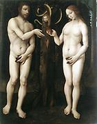 The Temptation of Adam' : 16th century.  The Master of Lucretia . Oil on wood.