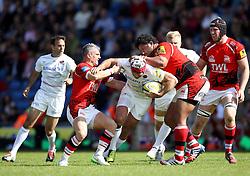 Saracens Schalk Brits takes on The London Welsh defence - Photo mandatory by-line: Robbie Stephenson/JMP - Mobile: 07966 386802 - 16/05/2015 - SPORT - Rugby - Oxford - Kassam Stadium - London Welsh v Saracens - Aviva Premiership