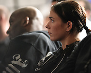 """MANCHESTER, ENGLAND, NOVEMBER 14, 2009: Kerry Vera is pictured seated in the media section during the post-fight press conference for """"UFC 105: Couture vs. Vera"""" inside the MEN Arena in Manchester, England"""