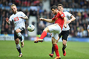 Nottingham Forest defender Bojan Jokic  during the Sky Bet Championship match between Derby County and Nottingham Forest at the iPro Stadium, Derby, England on 19 March 2016. Photo by Jon Hobley.