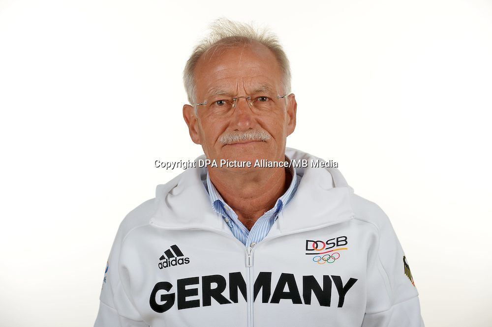 Wolfgang Hillmann poses at a photocall during the preparations for the Olympic Games in Rio at the Emmich Cambrai Barracks in Hanover, Germany. July 07, 2016. Photo credit: Frank May/ picture alliance. | usage worldwide